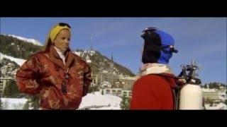 Retro ski movie with one piece ski suits