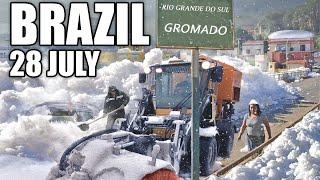 GOD has gone MAD! Brazil is covered with snow!  Incredible! Gramado 28 July